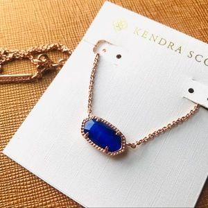 Kendra Scott Elisa blue pendant rose gold necklace